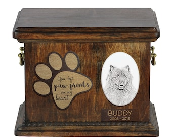 Urn for dog's ashes with ceramic plate and description - Keeshond, ART-DOG Cremation box, Custom urn.