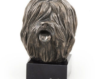 Polish Lowland Sheepdog, dog marble statue, limited edition, ArtDog. Made of cold cast bronze. Solid, perfect gift. Limited edition.