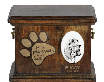 Urn for dog's ashes with ceramic plate and description - Redbone Coonhound, ART-DOG Cremation box, Custom urn.