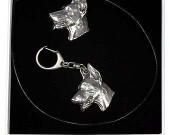 NEW, Doberman Pinscher, dog keyring and necklace in casket, ELEGANCE set, limited edition, ArtDog . Dog keyring for dog lovers