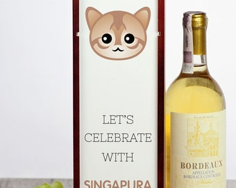Let's celebrate with Singapura cat. A wine box with the cute Art-Dog cat