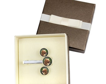 Golden Retriever. Jewelry for dog lovers. Cufflinks and tie pin . Photo jewellery. Men's jewellery. Handmade