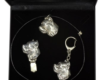 NEW, Cane Corso, dog keyring, necklace and clipring in casket, DELUXE set, limited edition, ArtDog . Dog keyring for dog lovers