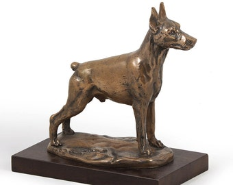 Doberman (cropped), dog wooden base statue, limited edition, ArtDog