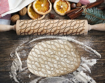 WAVES 2. Engraved rolling pin for Cookies, Embossing Rollingpin, Laser Engraved Rolling-pin. Decorating Roller