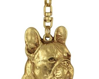 French Bulldog (right-oriented), millesimal fineness 999, dog keyring, keychain, limited edition, ArtDog . Dog keyring for dog lovers