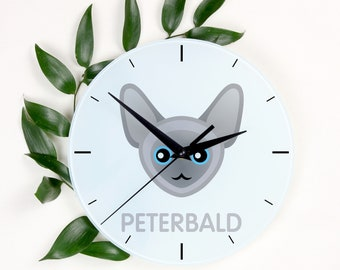 A clock with a Peterbald cat. A new collection with the cute Art-Dog cat