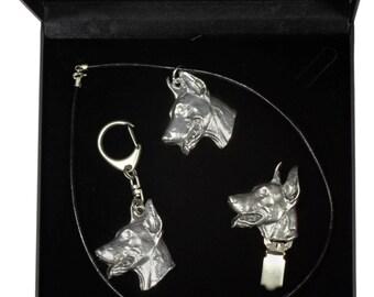 NEW, Dobermann, dog keyring, necklace and clipring in casket, DELUXE set, limited edition, ArtDog . Dog keyring for dog lovers