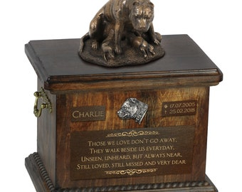 Staffordshire Bull Terrier mother - Exclusive Urn for dog ashes with a statue, relief and inscription. ART-DOG. Cremation box, Custom urn.