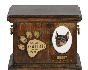 Urn for dog ashes with ceramic plate and sentence - Geometric German Pinscher, ART-DOG. Cremation box, Custom urn.