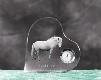 Fjord horse- crystal clock in the shape of a heart with the image of a pure-bred horse.
