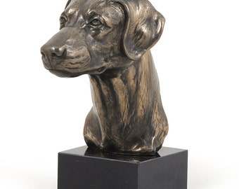 Doberman (uncropped), dog marble statue, limited edition, ArtDog. Made of cold cast bronze. Perfect gift. Limited edition