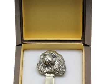 NEW, Cavalier King Charles, dog clipring, in casket, dog show ring clip/number holder, limited edition, ArtDog