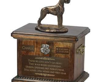 Great Dane uncropped - Exclusive Urn for dog ashes with a statue, relief and inscription. ART-DOG. Cremation box, Custom urn.