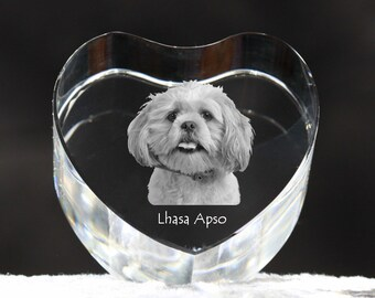 Lhasa Apso, crystal heart with dog, souvenir, decoration, limited edition, Collection