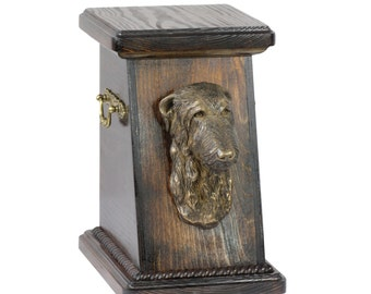 Urn for dog's ashes with a Scottish deerhound statue, ART-DOG Cremation box, Custom urn. Cremation box, Custom urn.