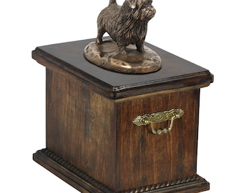 Urn for dog's ashes with a Norfolk Terrier statue, ART-DOG Cremation box, Custom urn.