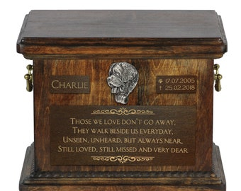 Urn for dog's ashes with relief and sentence with your dog name and date - Saint Bernard, ART-DOG. Cremation box, Custom urn.