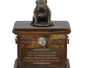 English Bulldog sitting - Exclusive Urn for dog ashes with a statue, relief and inscription. ART-DOG. Cremation box, Custom urn.