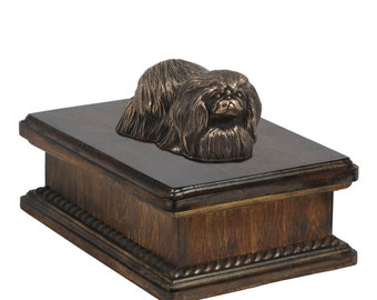 Exclusive Urn for dog's ashes with a Pekingese statue, ART-DOG. New model Cremation box, Custom urn.