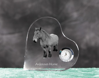 Ardennes horse- crystal clock in the shape of a heart with the image of a pure-bred horse.