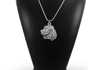 NEW, Springer Spaniel, dog necklace, silver cord 925, limited edition, ArtDog