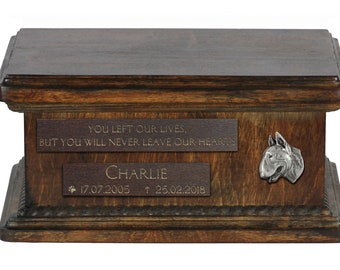 Urn for dog's ashes with relief and sentence with your dog name and date - Bull Terrier, ART-DOG. Low model. Cremation box, Custom urn.