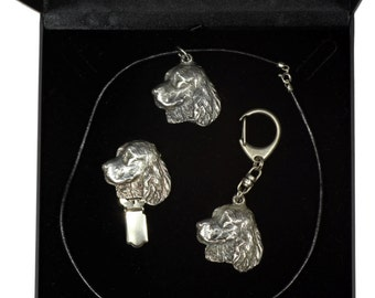 NEW, Springer Spaniel, dog keyring, necklace and clipring in casket, DELUXE set, limited edition, ArtDog . Dog keyring for dog lovers