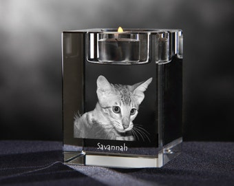 Savannah cat, crystal candlestick with cat, souvenir, decoration, limited edition, Collection