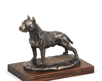 American Staffordshire Terrier (cropped), dog wooden base statue, limited edition, ArtDog