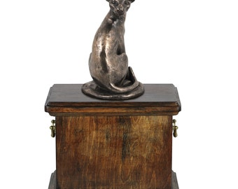 Urn for cat's ashes with a Egyptian cat statue, ART-DOG