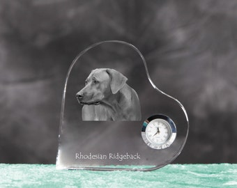 Rhodesian Ridgeback- crystal clock in the shape of a heart with the image of a pure-bred dog.