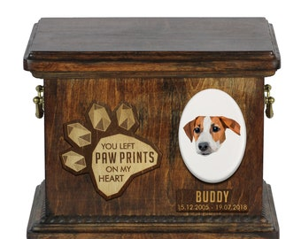 Urn for dog ashes with ceramic plate and sentence - Geometric Jack Russell Terrier, ART-DOG. Cremation box, Custom urn.