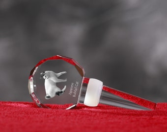Japanese Bobtail, Crystal Wine Stopper with cat, Wine and Cat Lovers, High Quality, Exceptional Gift. New Collection