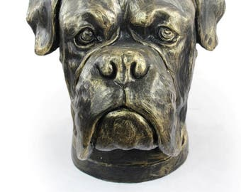 Urn for dog ashes - Boxer cropped statue. ArtDog Collection Cremation box, Custom urn.