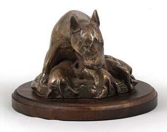 Bull Terrier (mama), dog wooden base statue, limited edition, ArtDog