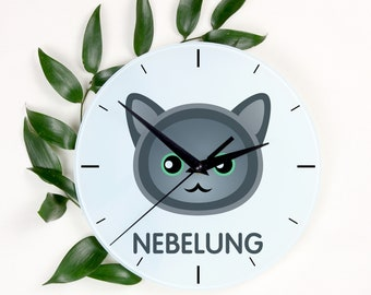 A clock with a Nebelung cat. A new collection with the cute Art-Dog cat