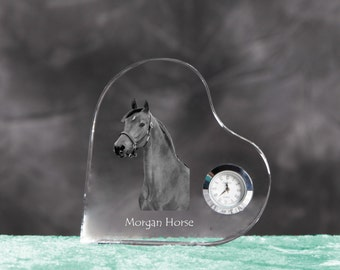 Morgan horse- crystal clock in the shape of a heart with the image of a pure-bred horse.