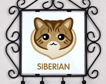 A key rack, hangers with Siberian cat. A new collection with the cute Art-dog cat