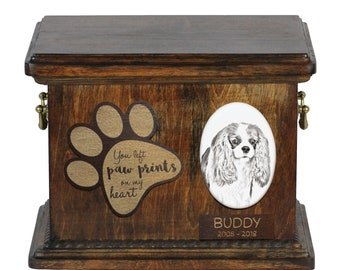 Urn for dog's ashes with ceramic plate and description - Cavalier, ART-DOG Cremation box, Custom urn.