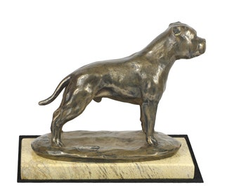 Staffordshire Bull Terrier, dog sand marble base statue, limited edition, ArtDog. Made of cold cast bronze. Perfect gift. Limited edition