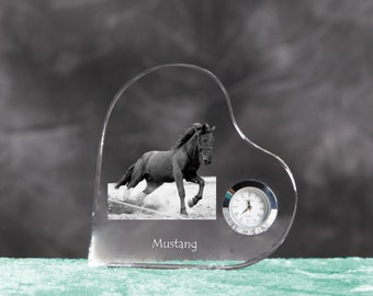 Mustang- crystal clock in the shape of a heart with the image of a pure-bred horse.