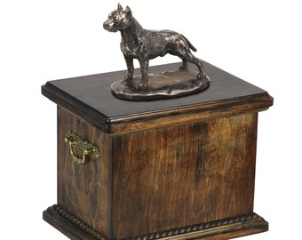Urn for dog's ashes with a American Staffordshire Terrier statue, ART-DOG Cremation box, Custom urn.