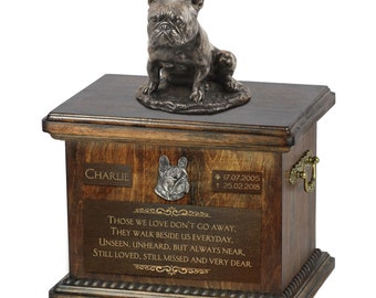 French Bulldog sitting - Exclusive Urn for dog ashes with a statue, relief and inscription. ART-DOG. Cremation box, Custom urn.