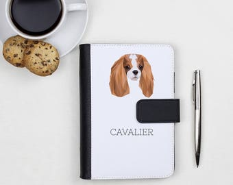 Notebook, book with a Cavalier King Charles Spaniel dog. A new collection with the geometric dog