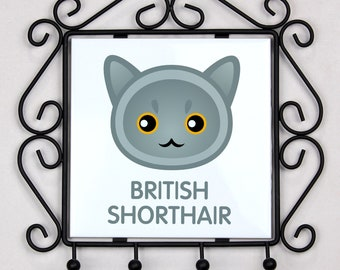 A key rack, hangers with British Shorthair cat. A new collection with the cute Art-dog cat