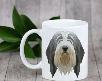 Enjoying a cup with my pup Bearded Collie- a mug with a geometric dog. Dog Lover Gift, Christmas Gift