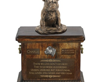 Staffordshire Bull Terrier - Exclusive Urn for dog ashes with a statue, relief and inscription. ART-DOG. Cremation box, Custom urn.