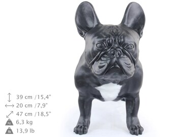 French Bulldog, black with white, dog natural size statue, limited edition, ArtDog