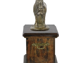 Urn for horse ashes with a standing statue - Fell-Pony ART-DOG Cremation box, Custom urn.